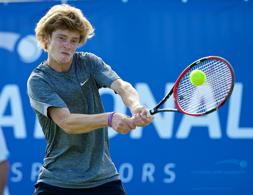 LIVERPOOL, ENGLAND - Saturday, June 20, 2015: Andrey Rublev (RUS) during Day 3 of the Liverpool Hope University International Tennis Tournament at Liverpool Cricket Club. (Pic by David Rawcliffe/Propaganda)